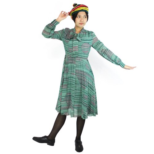Vintage - little green chiffon dress circle