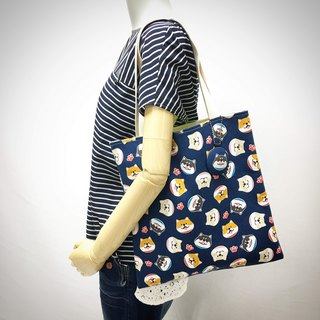 | •R• | Dingxiang Shoulder Flat Bag | Big Head Cute Shiba Inu (Deep Blue)