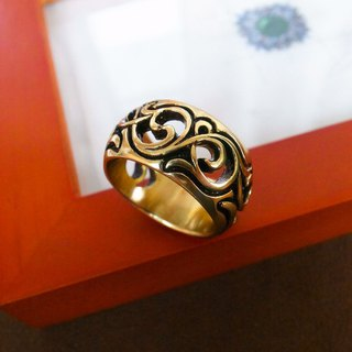 Moire carved pure brass ring - wide version of anti-allergic copper decoration custom ring