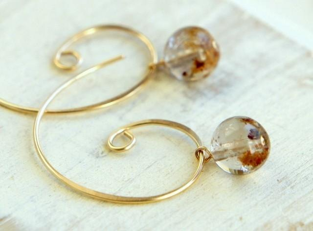 Rutile quartz and Quruli of hoop earrings K14GF
