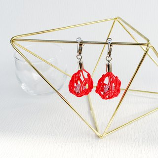 Collar and a round basket ball Earrings Red × Silver