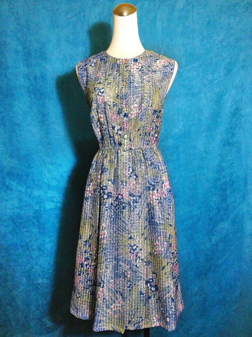 Ping pong ancient [ancient dress / blue flower weave sleeveless dress] foreign bring back VINTAGE