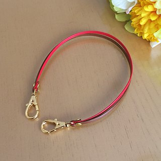 "Two-tone color Leather strap ( Red and Brown ) ""Clasps : Gold"""