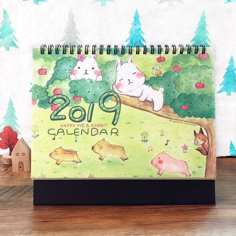2019 desk calendar / Meng Meng big white rabbit and pig friend / Christmas gift New Year gift