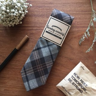 Neck tie Graphite Grey Tartan