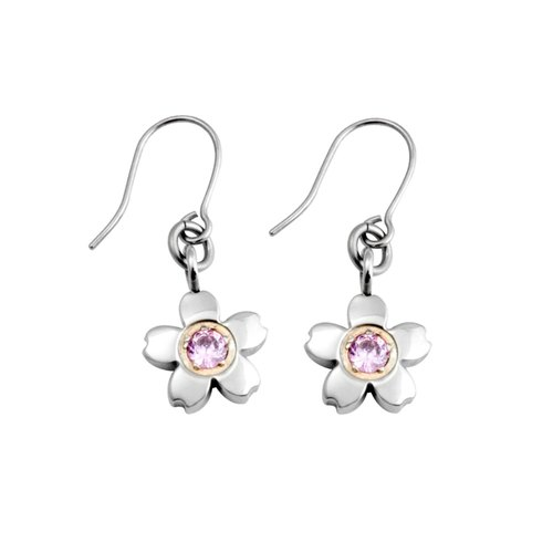 Cherry (S) - sweet heart powder pure titanium earrings