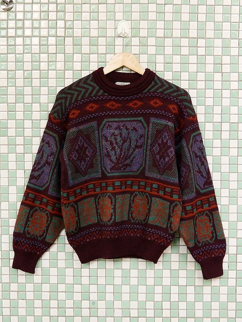 ♦♦ ◈ invincible children music vintage Japanese input line ◈ ♦♦ classic antique vintage espresso Baroque sweater