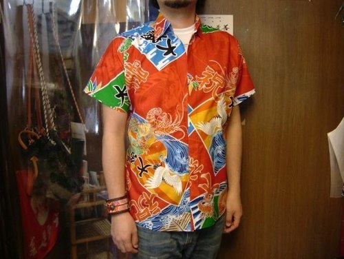 Short-sleeved shirt Japanese Pattern (big catch flag pattern)