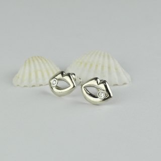 Lip earrings sterling silver