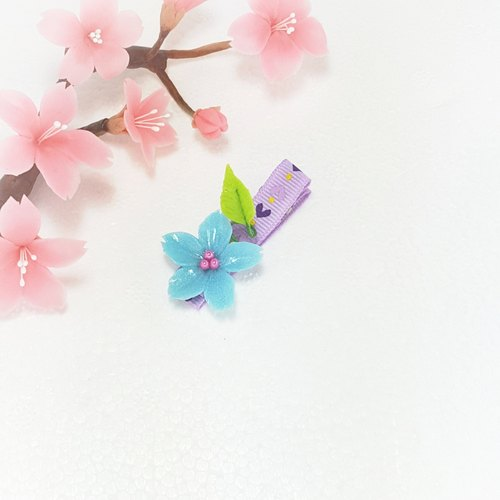 Three-dimensional blue cherry leaves hairpin bangs clip