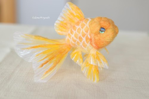 "Needle felted goldfish""Yellow oranda"""