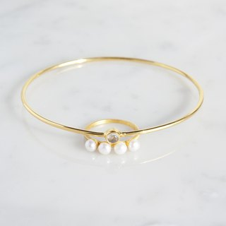 【Gold Vermeil/Gemstone】4 Pearls Matt Gold Ring
