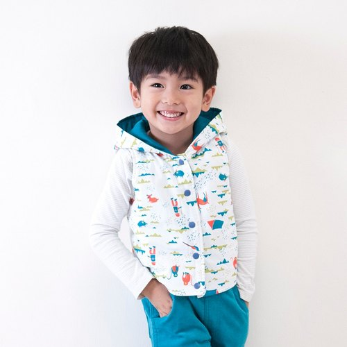 Hiking in the mountains hooded reversible cotton padded vest_white & green_kids (boy & girl)