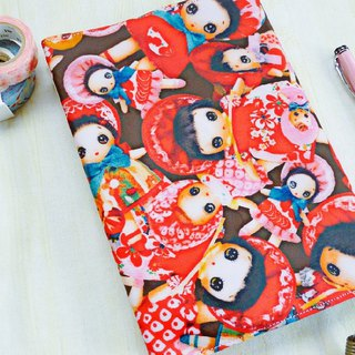 Japanese tarpaulin retro doll A5/25k book cover book cover mom handbook