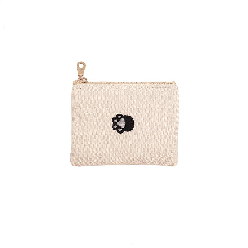 手工刺繡 奶茶黑貓零錢包 卡片包