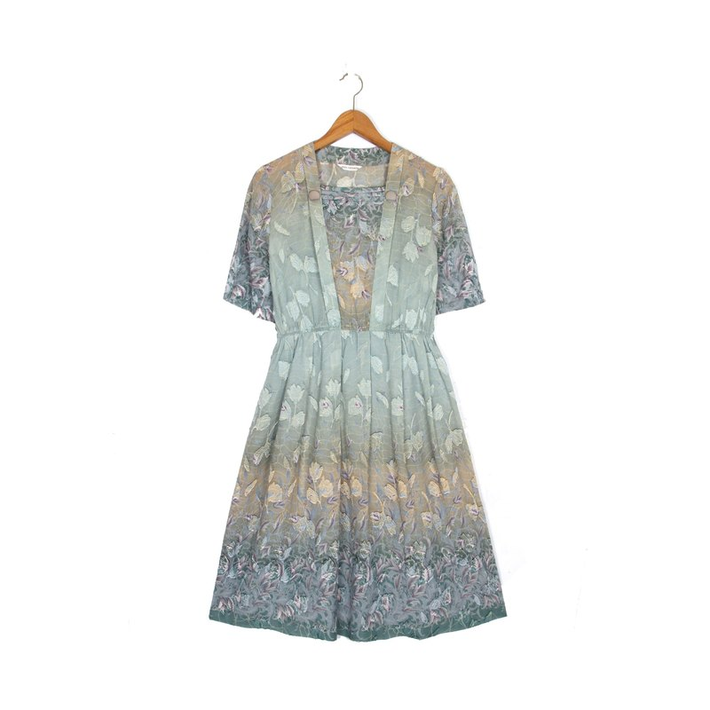 Green light gradient printing short-sleeved ancient dress