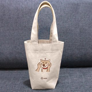 Shiba Inu - pinch face---Taiwan-made cotton linen - Wenchuang Shiba Inu - Environmental Protection - Beverage Bag - Fly Planet