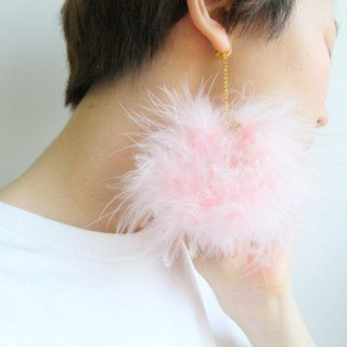 Cotton wool pink feather earrings ear clip - Color Dreams -