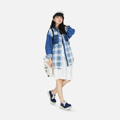 A‧PRANK: DOLLY :: VINTAGE retro blue and white plaid with double pocket stitching denim cowboy shirt