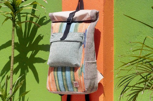 Tanabata gift limited to a handmade cotton and linen stitching design backpack / shoulder bag / national mountaineering bag / patchwork package - Moroccan sky Boho carpet national totem backpack