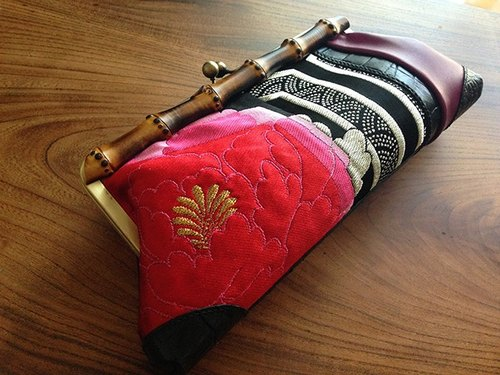 Rock Kimono × Leather Bamboo Clutch Bag / 1 point thing