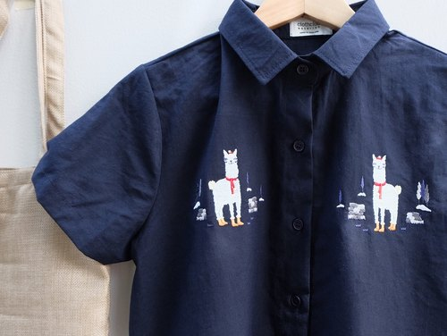 Alpaca Shirt : cotton navy color