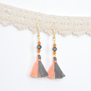 雙色流蘇。捷克水晶。耳環 Two Colorway Tassel。Crystal。Earring