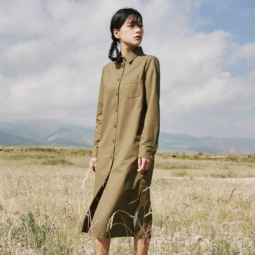 Anne Chen 2017 autumn new ladies pocket shirt long dress dress