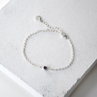 Simple Purple Natural Amethyst with 925 silver Bracelet, Custom letter initials