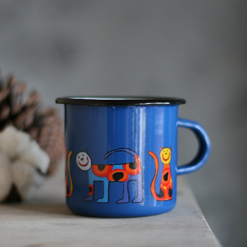Smaltum布拉格 琺瑯杯 粉圓喵咪_礦藍(285ml)(FDN000450)
