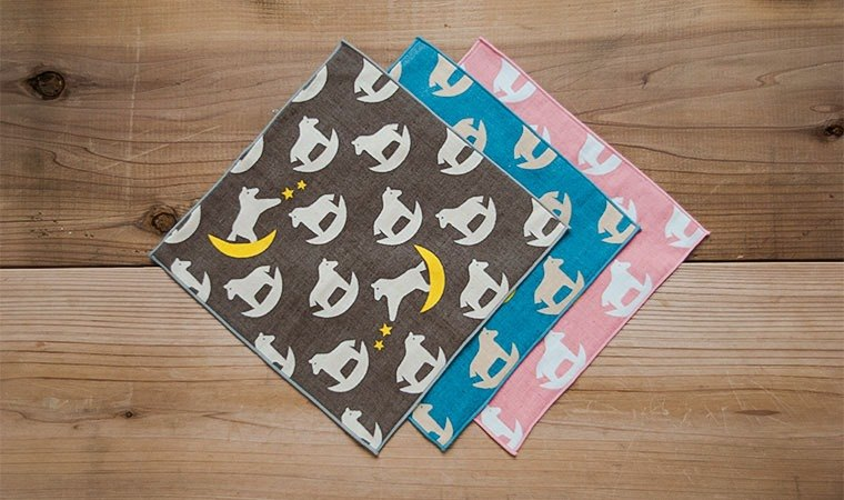 Earth Tree Hand Fair Trade fair trade -- Organic Cotton / Towel Handkerchief / Month / Horse / Brown, Blue, Pink