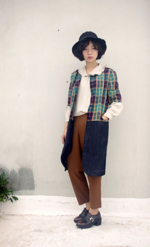 4.5studio- [R;] Restyle- Long Green Plaid stitching denim jacket