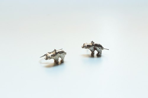 Wax carving Series - Limited bears sterling silver earrings