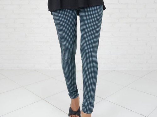 Autumn pants! Check pattern relaxing pants <turquoise>