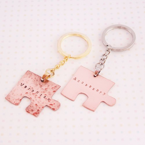 ◈ very simple. Put together ◈ red copper key ring {single} customization = hand knocking letters friends couple anniversary gift