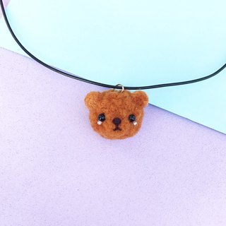 Wool felt teddy bear head necklace