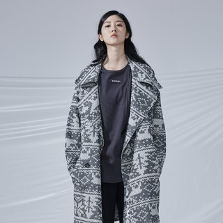 DYCTEAM - Woven Pattern Jacquard Trend Coat Snowflake Large Lapel Coat