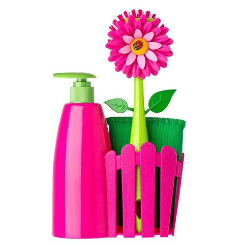 Sipania Vigar-Flower Scrub Brush Set - Pink