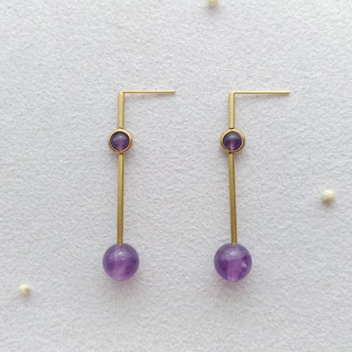 [Rational and emotional] 2. Brass amethyst earrings