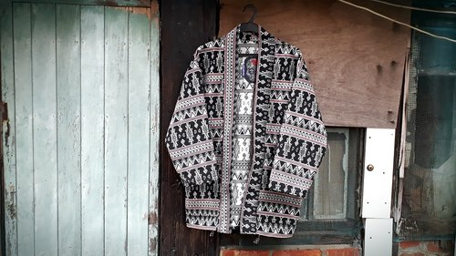 AMIN'S SHINY WORLD handmade custom KIMONO black and white geometric jacquard totem ethnic style smock coat thick cloth