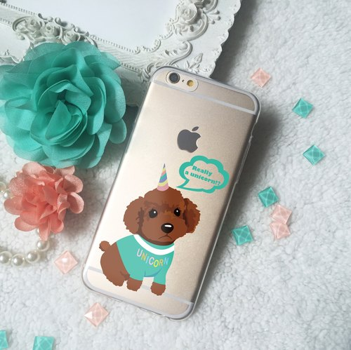 Sitting Creamy Poodle Brown Poodle or Unicorn pattern Clear TPU Silicone Phone Case Cover for iphone X 6 6S 7+ 8 8+ Plus Samsung Galaxy S7 edge S8 S8+ Note A5 A7 A8 2016 J7 HTC M10 LG G5 G6 V20 Z5 Z4 Z3 Xperia X XZ XA Ultra OPPO