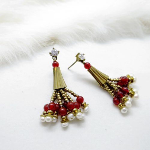 LYX Beautiful Affair Russian Red Tassel Earrings Porcelain Zircon Cushion Earrings