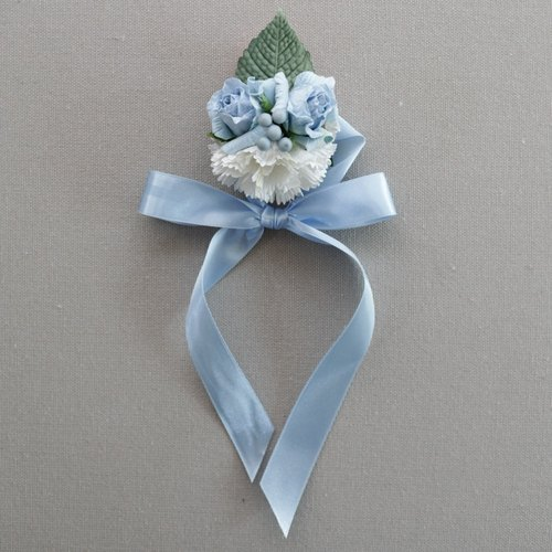 BB202 : Bridesmaids Bracelet/Corsage, Blue Grey