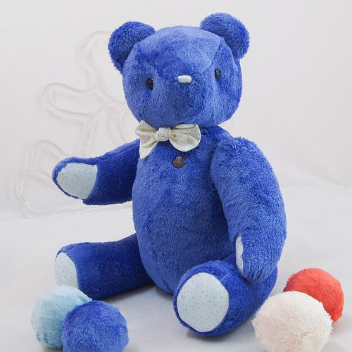Handmade teddy bear pudding bear cool feeling indigo 50cm custom color and embroidery finished product