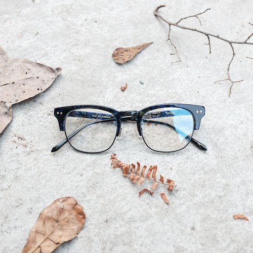[Head] head firm texture high grade Japanese people titanium eyebrow blue tortoiseshell frame / glasses / frame