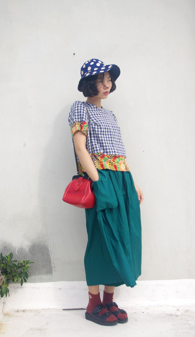 4.5studio- independent hand-made by FU- retro green valgus big wide pants pocket