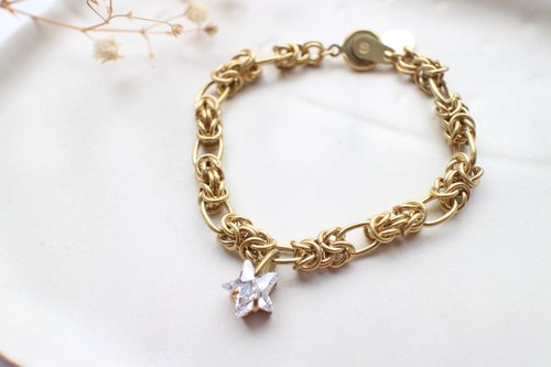 Star-Zircon brass bracelet