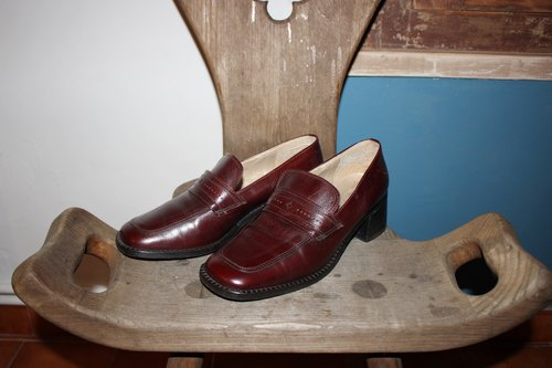 S105 (Vintage) [Italian soles standard] red brown shoes (23.5 ~ 24cm) (Made in Italy) Size: 38