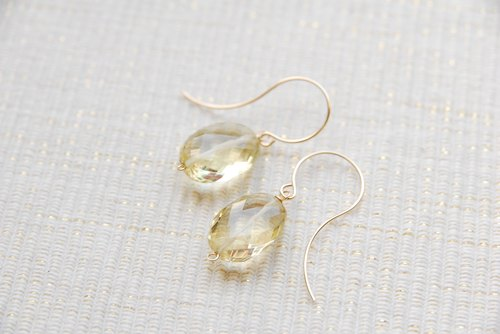 Cutted lemon quartz earrings (14 kgf)