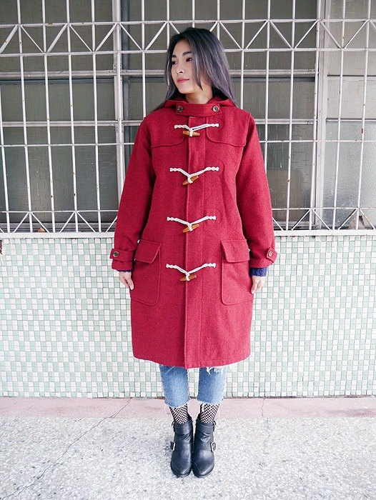 ♦♦ ◈ invincible children music vintage Japanese input line ◈ ♦♦ classic vintage antique wooden buckle sheep wool hooded long coat jacket